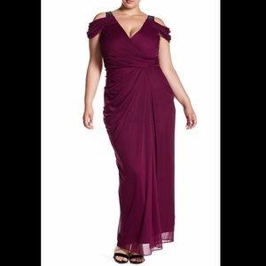 Adrianna Papell Purple Embellished Evening Dress